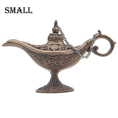 AVESON Classic Vintage Collectable Rare Legend Hollow Magic Genie Light Costume Lamp Home Table Decoration & Gift, Small, Copper