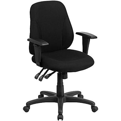 Flash Furniture Mid Back Black Fabric Multifunction Ergonomic Swivel Task Chair With Adjustable Arms