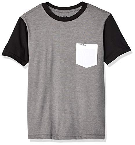 RVCA Boys' Big Ollie Color Block Stripe Short Sleeve Crew Neck Pocket Shirt, Grey Noise, L