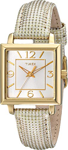 Leather Calfskin Metallic (Timex Women's T2P379 Elevated Classics Gold-Tone Square Watch with Metallic Leather Band)