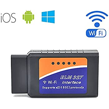 Car WIFI OBD 2 OBD2 OBDII Code Reader Scan Tool, compatible with IOS, Android & Windows Devices (Blue)