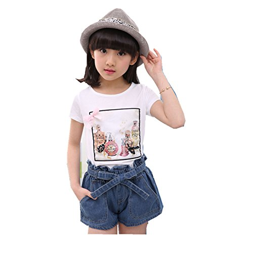 FTSUCQ Girls Sequin Short Sleeve Top Shirt with Denim Shorts Two-pieces Sets,White 150 (Cute 11 Year Old Guys)