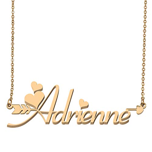Aoloshow Customized Custom Name Necklace Personalized - Custom Adrienne Initial Name Arrow Horizontal Monogrammed Necklace Gift for Womens Girls