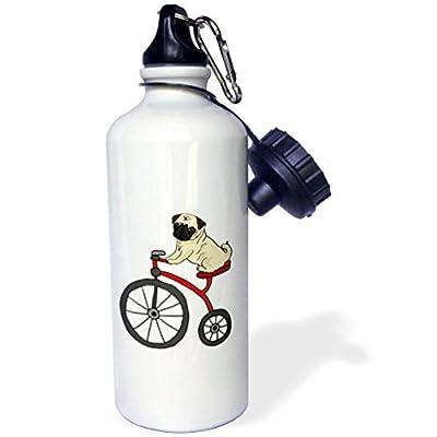 Tous les sourires Art Pets Cute amusants Carlin Chiot d'équitation Tricycle Dessin animé Sports Bouteille d'eau en acier inoxydable Bouteille d'eau pour femme homme enfants 400ml
