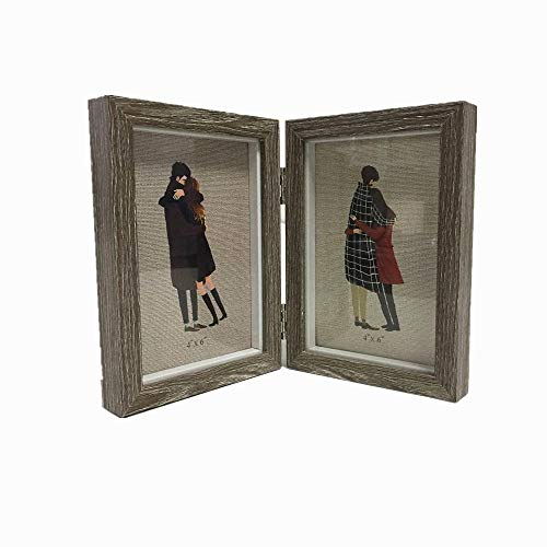 Silver Hinged Folding two Shadow Box Picture Frame (Slide pin) Display 4x6 inch Vertical Photo for Desk Opening Collectibles Plant Specimen and Baby Birth Memorial kid's Frame (gray wood Grain-B)