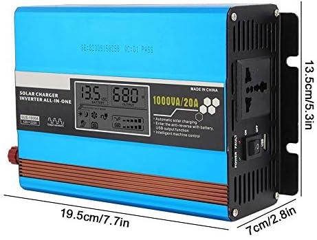 Solar Wechselrichter,Solar Inverter 12V bis 220V1000W Wechselrichter Controller Tragbare Solarbatterie DC/AC Wandler Solar Inverter Lade integrierte Maschine Solar Power Controller