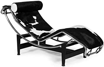 Kardiel Le Corbusier Style LC4 Chaise, Black White Cowhide w Matching Pillow