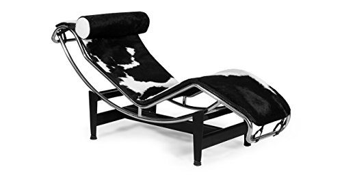 Kardiel Gravity Chaise Lounge, Black & White Cowhide with Matching Pillow