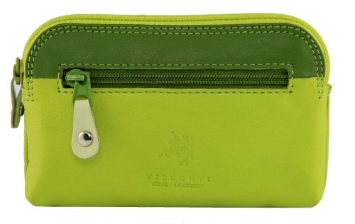 Visconti RB 62 Multi Colored Green/Lime/Cream Ladies Soft Leather Coin Purse And Key Wallet With Key Chain