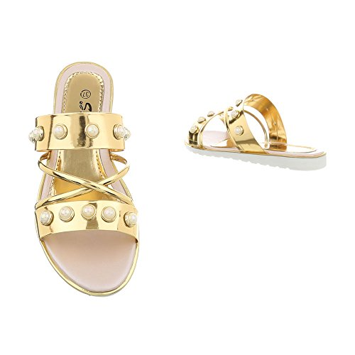 Ital-Design Pantoletten Damenschuhe Sandalen & Sandaletten Gold AL999