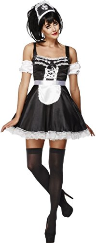 Ladies Flirty French Maid Rocky Horror Halloween Role Play Fun Hen Do Night Party Fancy Dress Costume Outfit (UK -
