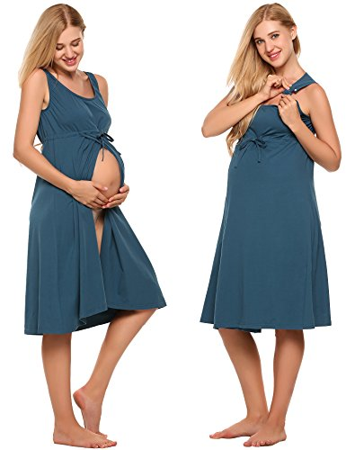 Ekouaer Nursing Nightgown,Womens Labor/Delivery/Hospital Gown Maternity Dress Sleepwear,Navy Blue,Medium