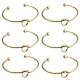 Love Knot Bracelet for Women Bridesmaid,Cuff Bangle Wristband Girls Valentine's Day Gifts (6, Gold)