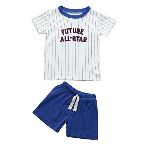6967ddbee PAOLIAN Conjuntos Ropa para Niños Babe para Verano Manga corta Camisetas de  Top de Alfabeto de Rayas y ...