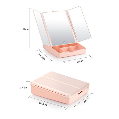 Fascinate Makeup Vanity Mirror With Lights, Brightness Control Makeup Mirror with Magnification, Touch Cosmetic Table Mirror With Storage by Fascinate (Image #5)