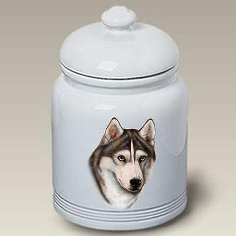 Siberian Husky (Grey): Ceramic Treat Jar 10