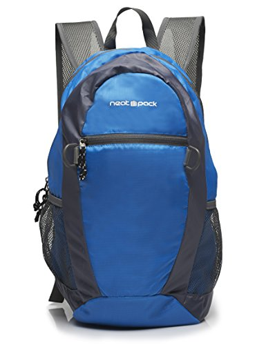 Daypack Ripstop Nylon (NeatPack Durable, Foldable Nylon Backpack / Daypack with Security Zippers, 20L, Blue)