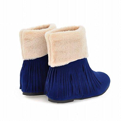 Carolbar Womens Fashion Faux Fur Dusker Varme Vinter Sjarmerer Skjult Kile Hæl Snø Støvler Blå