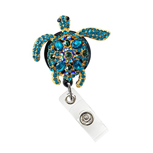 Sizzle City Rhinestone Brooch Badge Reels, Nurse Badge Retractable ID Badge Holder, Name Tag (Bling Turquoise Turtle Reel)