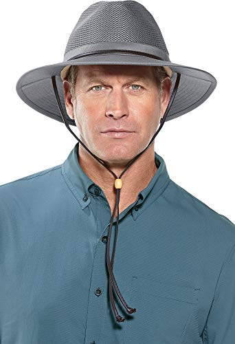Coolibar UPF 50+ Men's Crushable Ventilated Hat - Sun Protective (XX-Large- Smoke Grey) ()