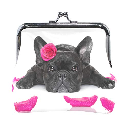 AJINGA Dogs French Bulldog With Rose Coin Purse Pumpkin Leather Coin Wallet Snap Closure Clutch Bag