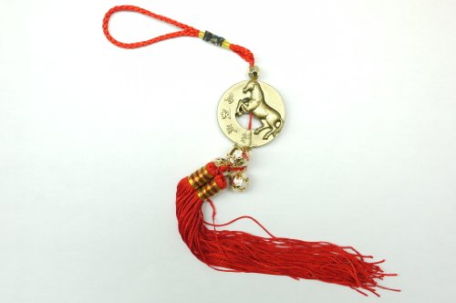 (Red Feng Shui Horse Medallion with Bell Tassel for Good Fortune)