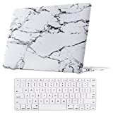 Macbook Air 13 Inch Case, TeenGrow Plastic Hard Protective Smooth Macbook Shell Case with Keyboard Cover for Macbook Air 13'' (Model:A1369 And A1466), White Marble