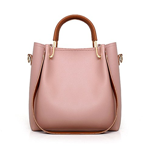 Set Holder Leather Elegant Women Joint Bag Split Pink Card Handbag Beige PU Tote Purse 4pcs Bag Shoulder d1vvxw7q