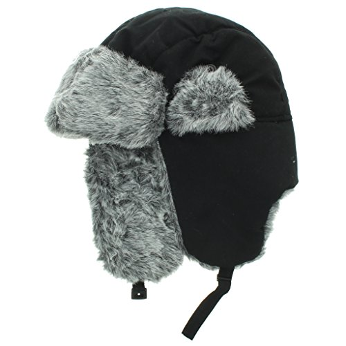 City Hunter Soft Nylon Russian/Trapper/Trooper Winter Hat (One Size)-Black