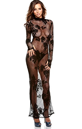 Tease Women's Long Black Stretch Lace Gown, One Size