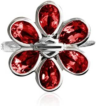 Harley-Davidson Womens .925 Silver Garnet B&S Flower Ring