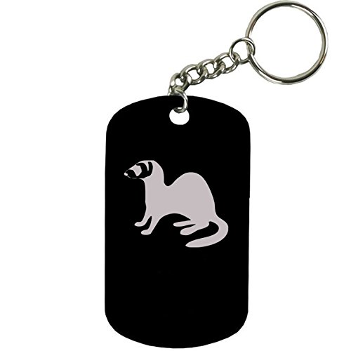 Personalized Engraved Custom Ferret 2-inch Colored Anodized Aluminum Customizable Keychain Dog Tag, Black