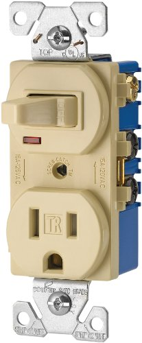 Eaton TR274V 3-Wire Receptacle Combo Single-Pole Switch with Tamper Resistant 2-Pole, Ivory