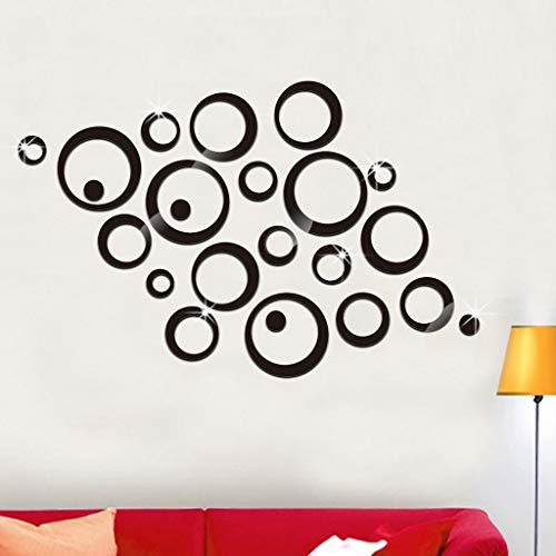 Iusun 23pcs 3D Circles Mirror Wall Stickers Paper Removable Self-Adhesive Art Mural - Adhesive Self Murals Mirrors Bathroom