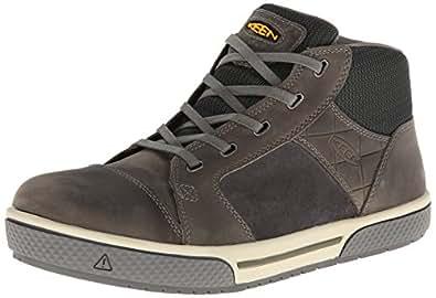 KEEN Utility Men's Destin Mid Steel Toe Shoe,Gargoyle/Forest Night,14 EE US
