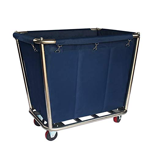 Heavy Duty Blue Laundry Hamper Sorter Cart, Utility Serving Trolley on Wheel for Hotel Industrial, 90x65x80cm