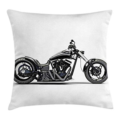 (Ambesonne Manly Throw Pillow Cushion Cover, Custom Motorcycle Horsepower Adventurous Journey Freedom Ride Masculine Vehicle, Decorative Square Accent Pillow Case, 26 X 26 Inches, Grey Black White)
