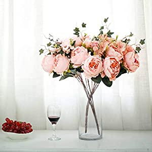 Efavormart 2 Bushes Peony, Rose Bud and Hydrangea Artificial Silk Flower Decor Floral Bush 3