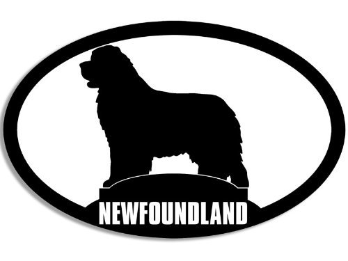 American Vinyl Oval Newfoundland Dog Silhouette Sticker - Breed pet Animal Canada Love