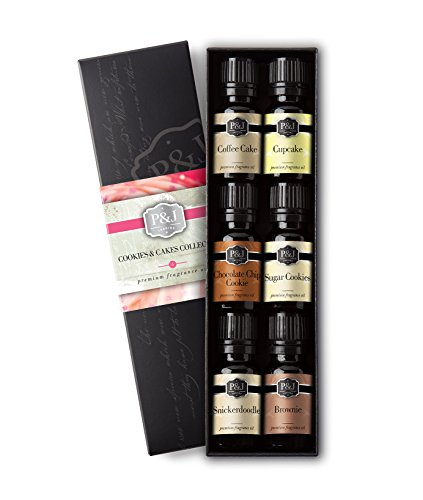 Cookies & Cakes Set of 6 Premium Grade Fragrance Oils - Chocolate Chip Cookie, Sugar Cookies, Cupcake, Brownie, Snickerdoodle, Coffee (Oil Soap Cake)