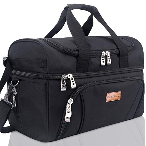 BALORAY Large Insulated Bag Waterproof Cooler Carrier Bag Leak-proof Picnic Bag for Grocery, Camping, Car, Picnic Beach Travel,Lunch Bag for Women Men (G-217 Black)