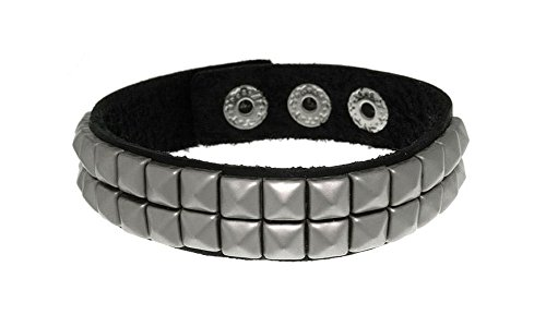 Jewelry Trends Black Leather Steel Two Row Pyramid Stud Bracelet with Adjustable Snaps