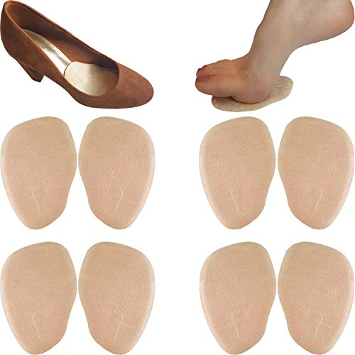 Chiroplax High Heel Cushion Inserts Pads (4 Pairs) Suede Ball of Foot Forefoot Metatarsal Anti Slip Shoe Insoles for Women (Beige, Normal Thickness)