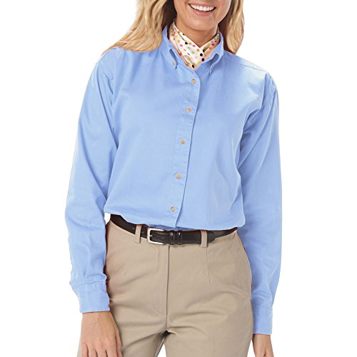 - Blue Generation BG6214 - Ladies' Long Sleeve Oxford with Stain Release (Small, Oxford Blue)