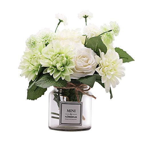 Missblue Artificial Rose Flowers with Vase,Fake Silk Rose Dahlia Daisies Bouquet with Glass Jar Home Rope for Wedding Proposal Bride Home Decoration and The Best Gift ()