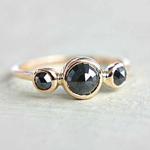 Black Rose Cut Diamond Gold Ring 14k Yellow Gold Natural Black Diamond Gold Ring Size 7,25-7,5 Black Diamond Engagement Ring