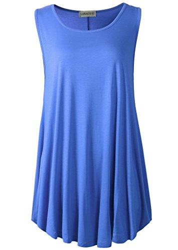 LARACE Women Solid Sleeveless Tunic for Leggings Swing Flare Tank Tops (2X, Blue)