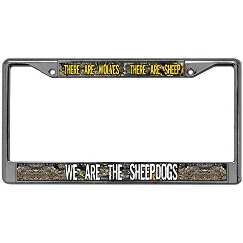 Sheepdog License Plate Frame - Niudunin Aluminum Metal There are Wolves - There are Sheep We are The Sheepdogs Auto License Plate Frame Metal License Plate Cover Tag Metal Car License Plate Frame with Screw Covers 2 Holes