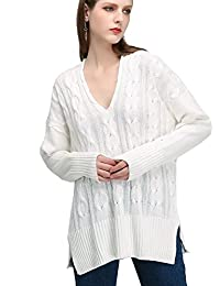Women Knitted Sweater,JCBABA Women Casual V Neck Loose Fit Knit Sweater Pullover Top