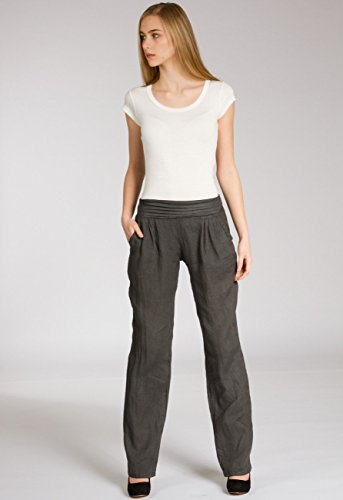 Caspar KHS020 Pantalones de lino para mujer gris oscuro